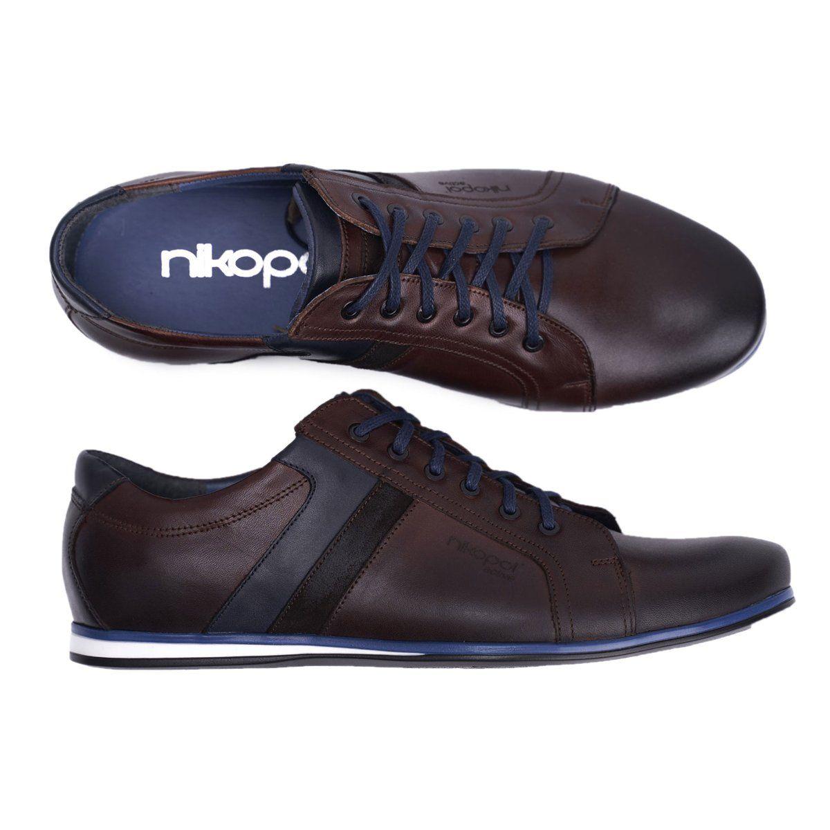 Polbuty Meskie Casual Skorzane Nikopol Brazowe 1721 Shoes Mens All Black Sneakers Fashion Shoes