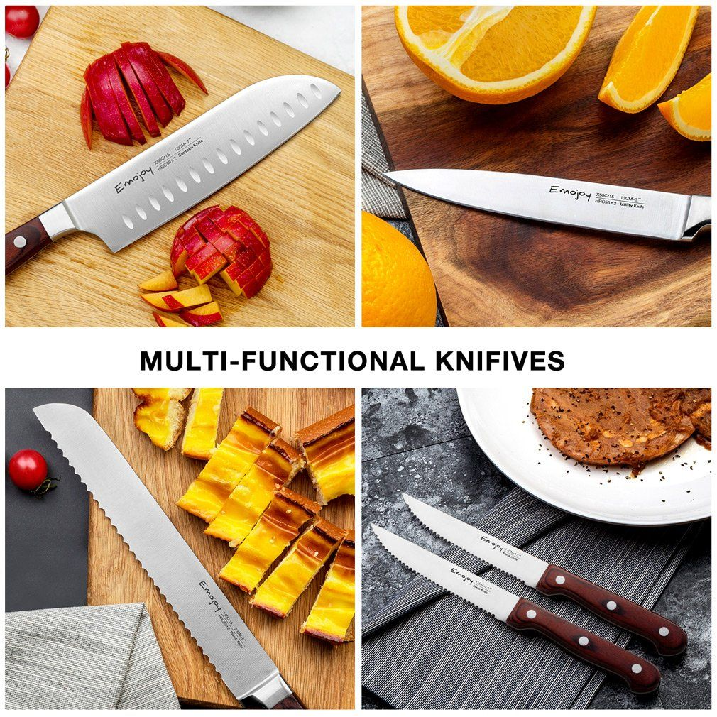 Knife Set 15piece Kitchen Knife Set With Block Wooden Self