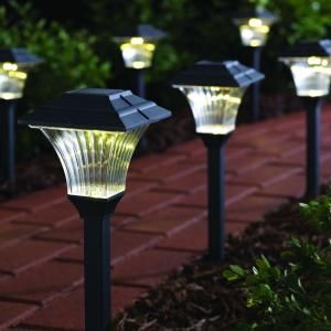 Hampton Bay Square Plastic Solar Led Pathway Light 6 Pack Gx 1917 P Pc At The Home Depot Outdoor Solar Lights Outdoor Lighting Solar Lights