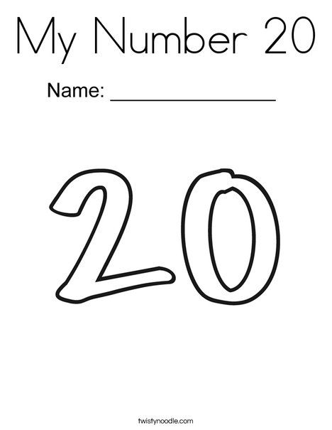 My Number 20 Coloring Page Twisty Noodle Coloring Pages Learning Math Learning Numbers
