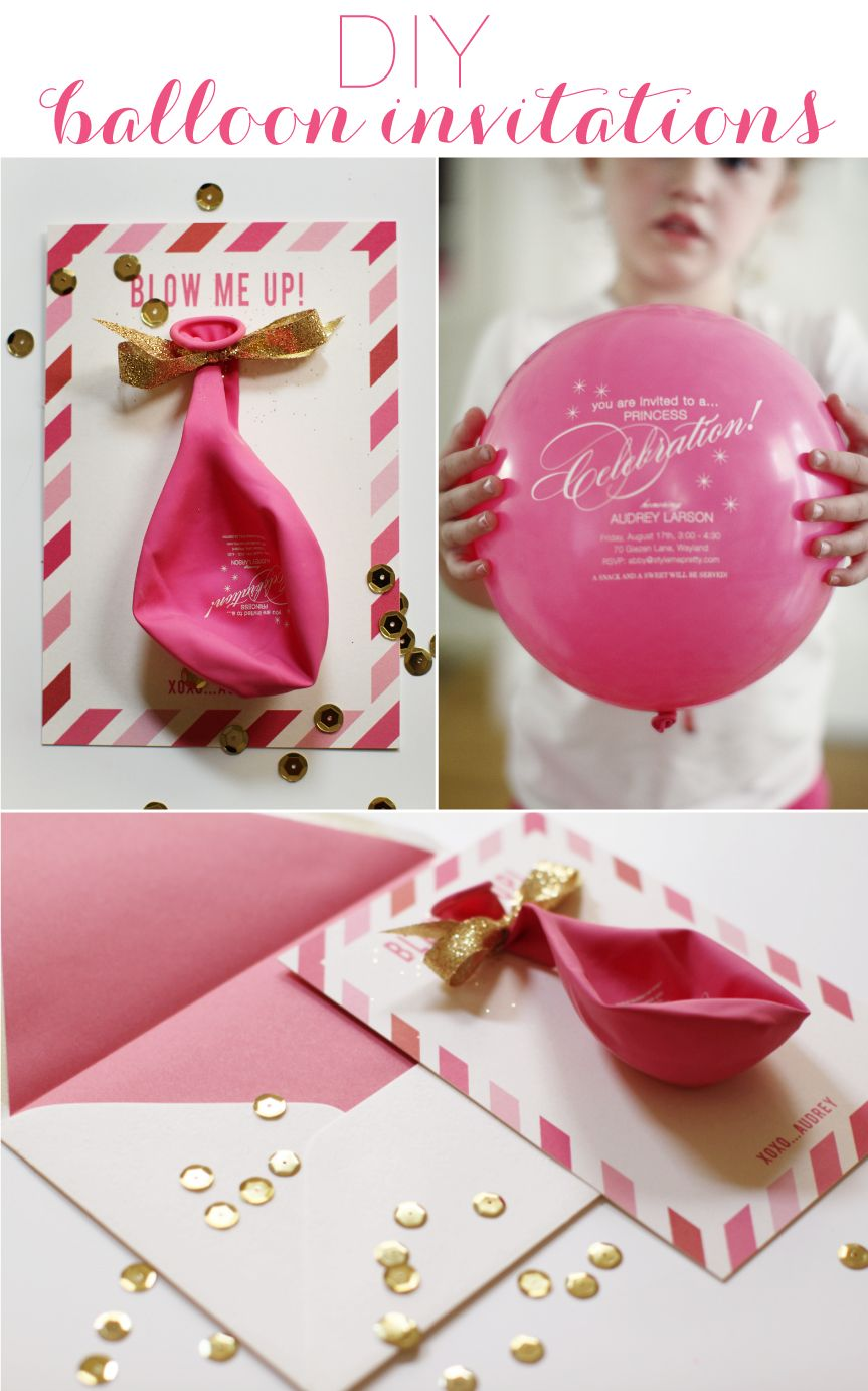 DIY Balloon Invitations Balloon party Party invitations and