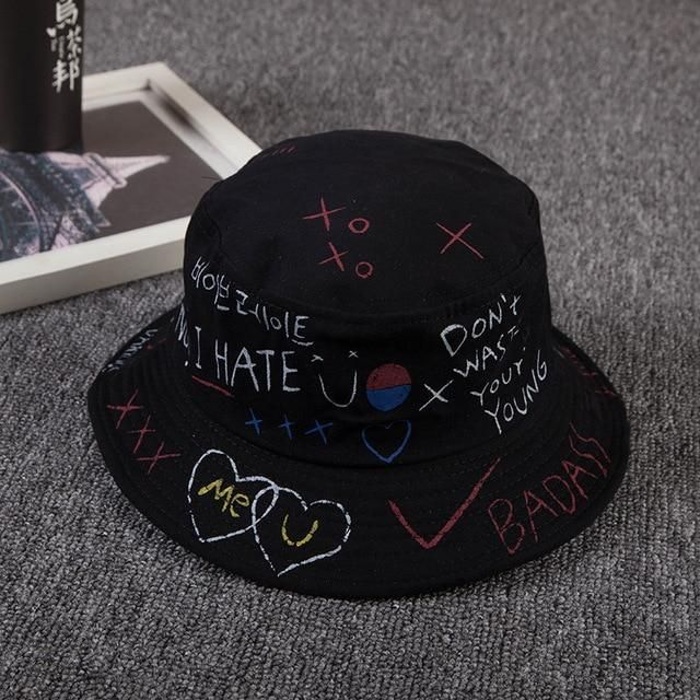 Unisex Harajuku Bucket Hat Fishing Outdoor  Hip Hop Cap Men's Summer For Fisherman Hat Women 2018 New Bone Feminino - black hat / One Size