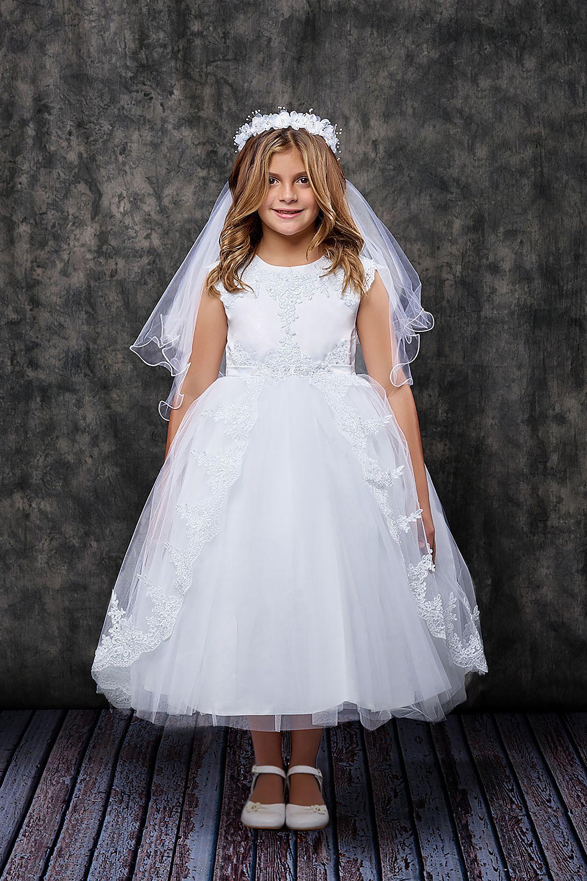 782b19e2caa Lace Applique Swoop Train Communion Dress
