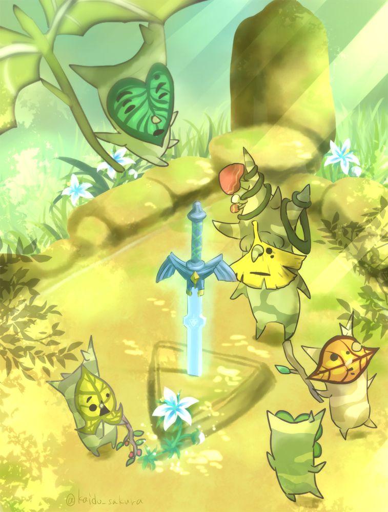 Legend Of Zelda Breath Of The Wild Art Deku Tree And Koroks Watch Over The Master Sword Legend Of Zelda Legend Of Zelda Breath Breath Of The Wild