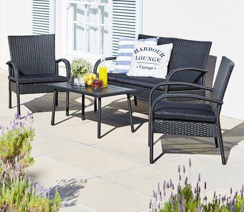 Uk Lounge Set Gadevang Steel X2f Petan Black Jysk Outdoor Furniture Sets Rattan Garden Furniture Rattan Furniture