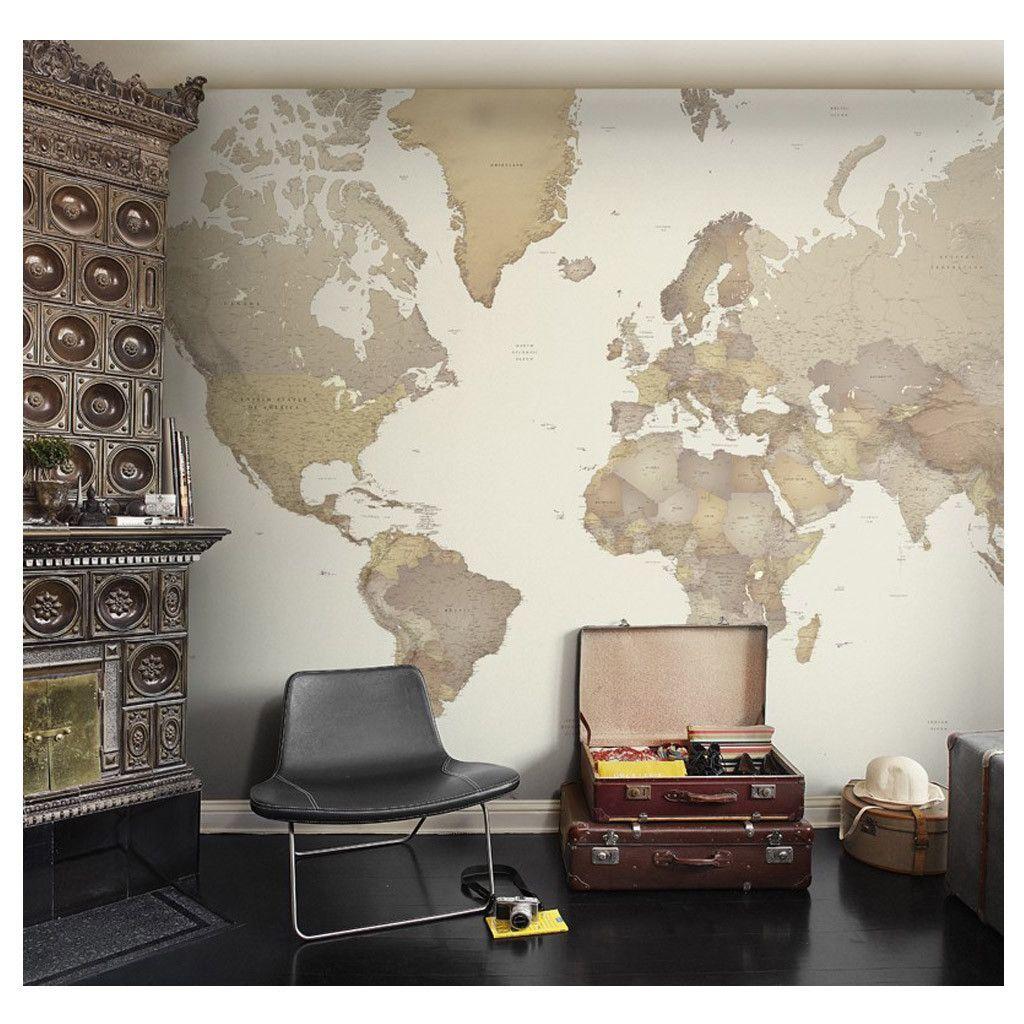 Mural mapamundi dise o y arte pinterest mapamundi - Papel pintado mapamundi ...