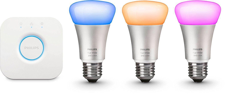 Philips Hue Led Lampe 10 W A60 E27 Starter Set Inklusive Bridge Eek A 3 Er Set Dimmbar 16 Mio Farben App Gesteuert 87186964 Led Lampe Led Led Leuchtmittel