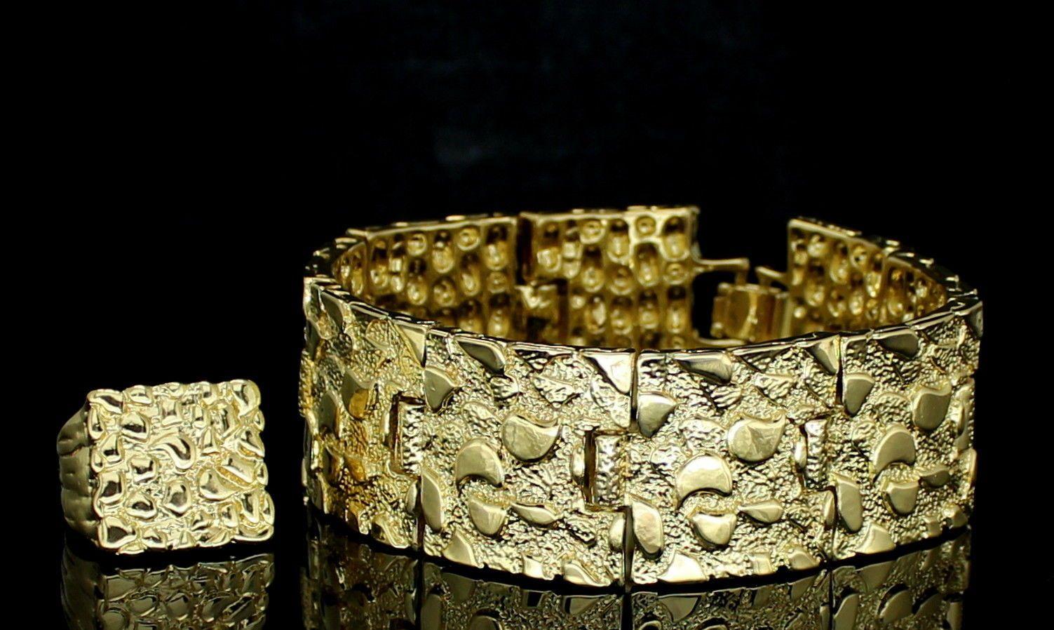 Mens pc nugget design bracelet ring set k gold plated hip hop
