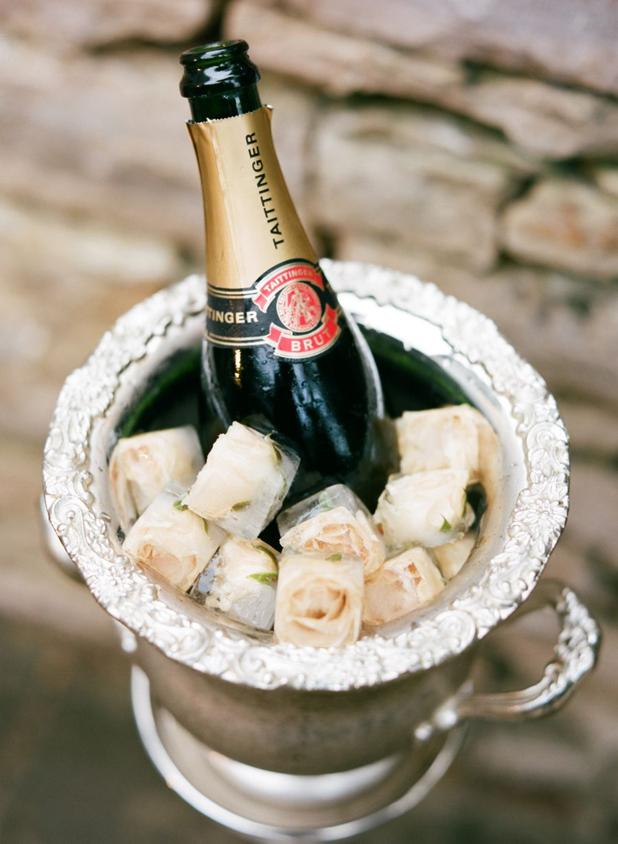 Champagne En Gros Floral Ice Cubes With Silver Champagne Bucket Event Design And