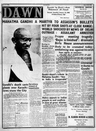 Front Page Of Pakistan Newspaper Dawn On Assassination Of Mahatma
