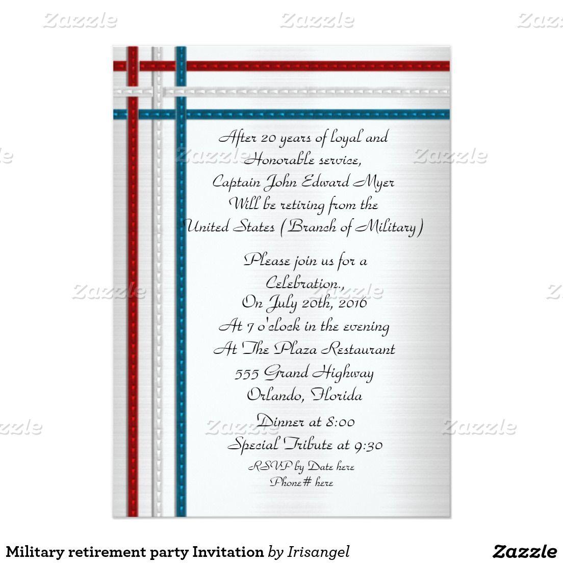 Patriotic Military Retirement Party Invitation Military Retirement