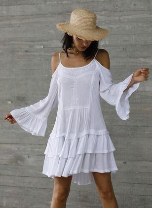 Boho Solid Embroidery Camisole Neckline A Line Dress Floryday Kleidung Kleider Damen Lassig Kleidung