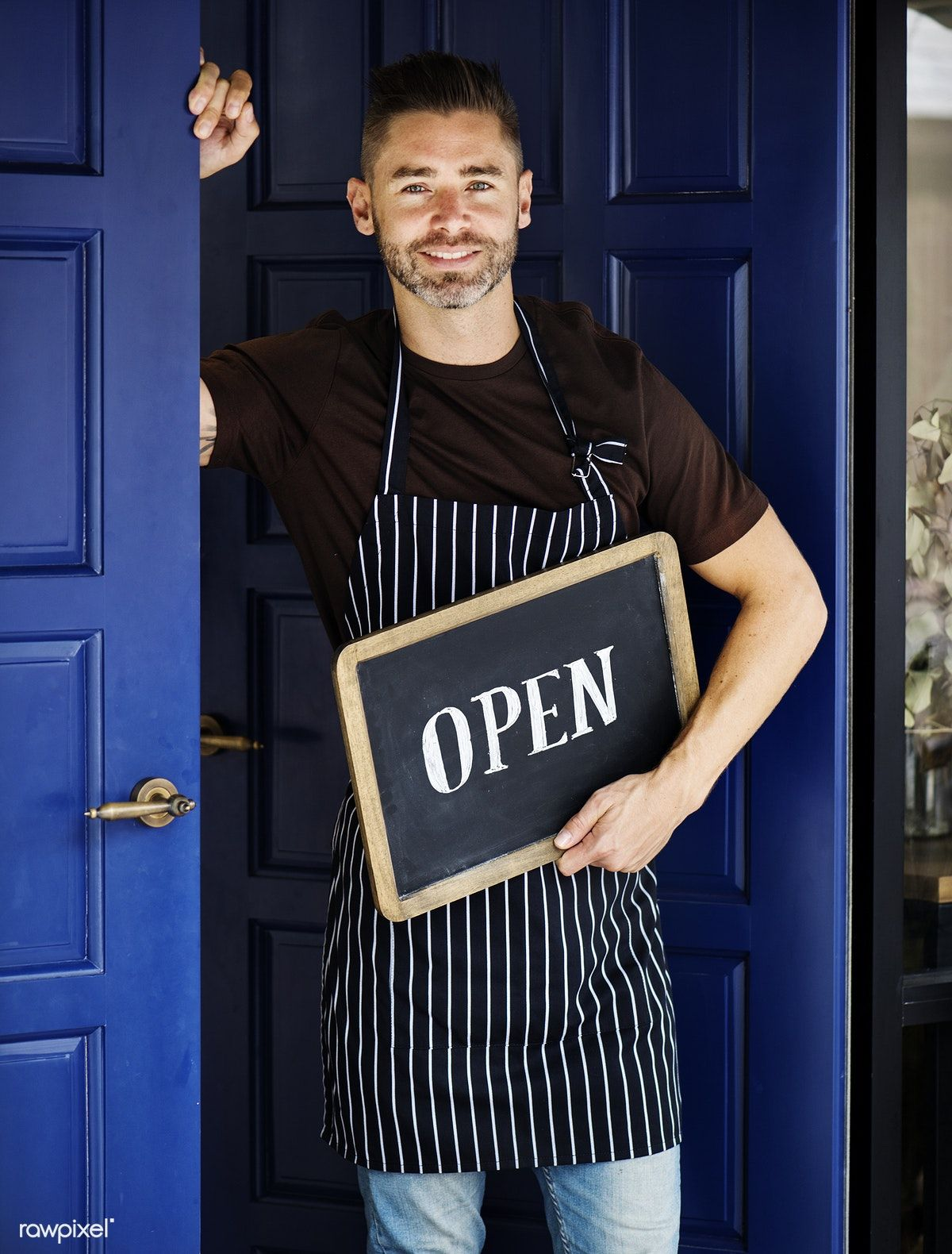A Cheerful Small Business Owner With Open Sign Get This Free Psd