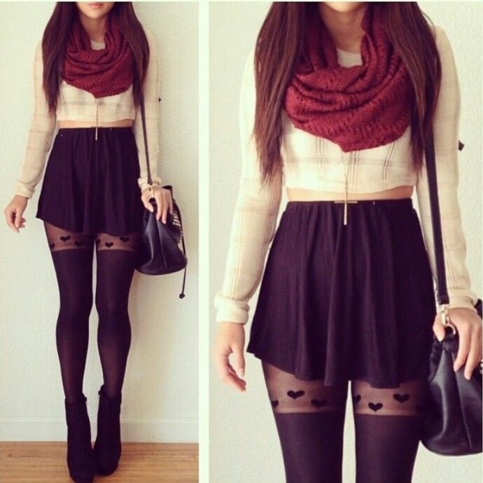 Black skater skirt with burgundy scarf. This outfits my favorite ...