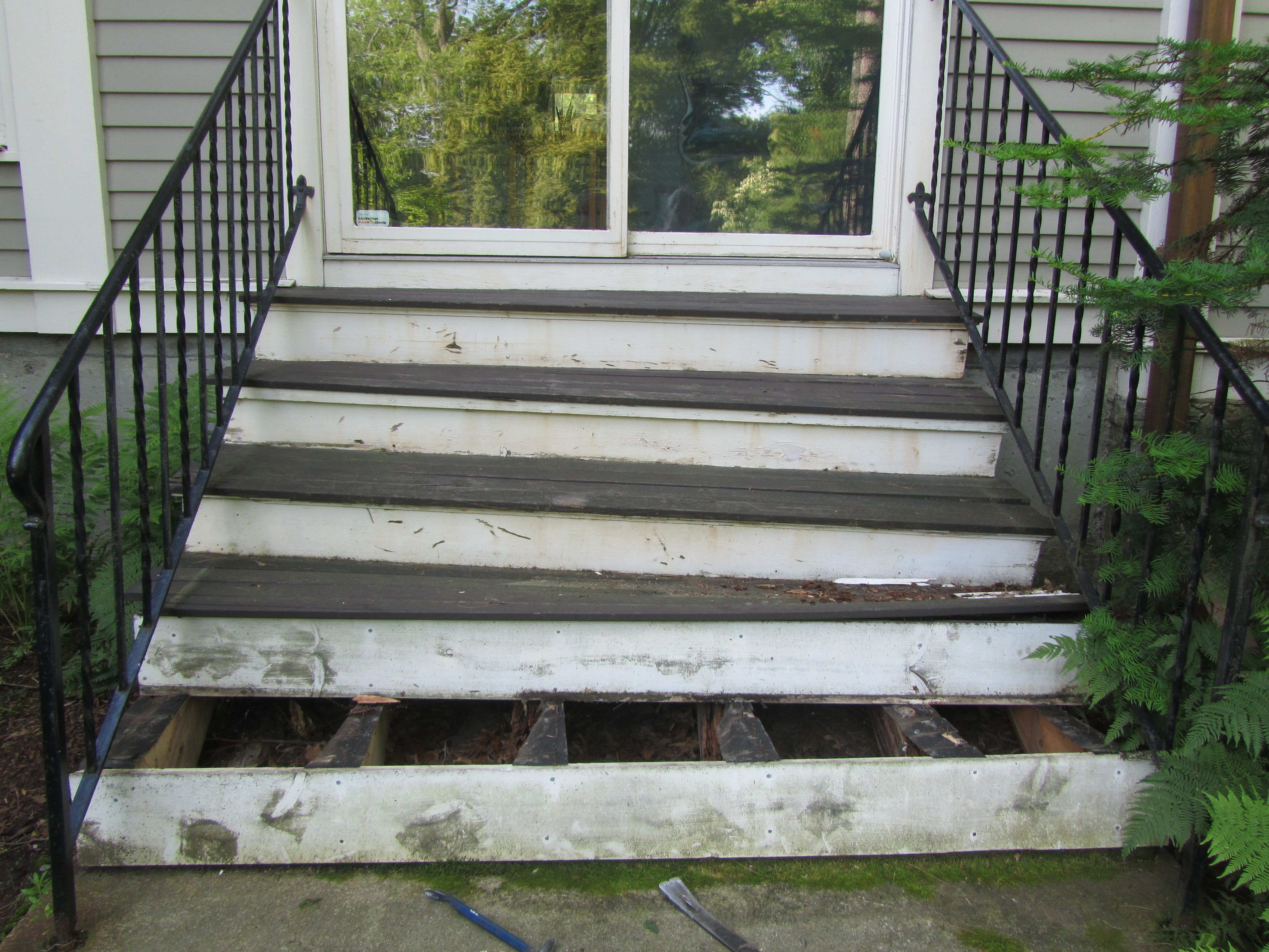 Replacing A Rotting Porch Porch Repair Exterior Stairs Stairs | Replacing Concrete Steps With Wood | Stringers | Stair Railing | Composite Decking | Pouring Concrete | Concrete Slab