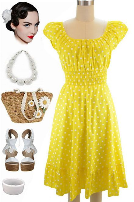 50s Style YELLOW & White POLKA Dot PLUS SIZE Peasant Top On/Off ...
