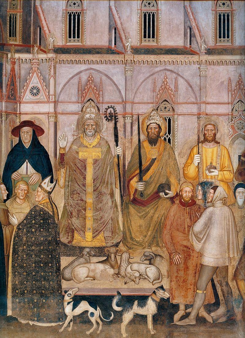 Andrea di Bonaiuto. Santa Maria Novella 1366-7 fresco 0012 - Андреа Бонайути — Википедия. Фрески испанской капеллы церкви Санта-Мария-Новелла. Андреа Бонайути ( ди Bonaiuto) из Флоренции. Триумф Церкви, деталь.
