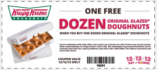 photograph relating to Krispy Kreme Printable Coupons titled Instant dozen of doughnuts absolutely free nowadays at Krispy Kreme coupon