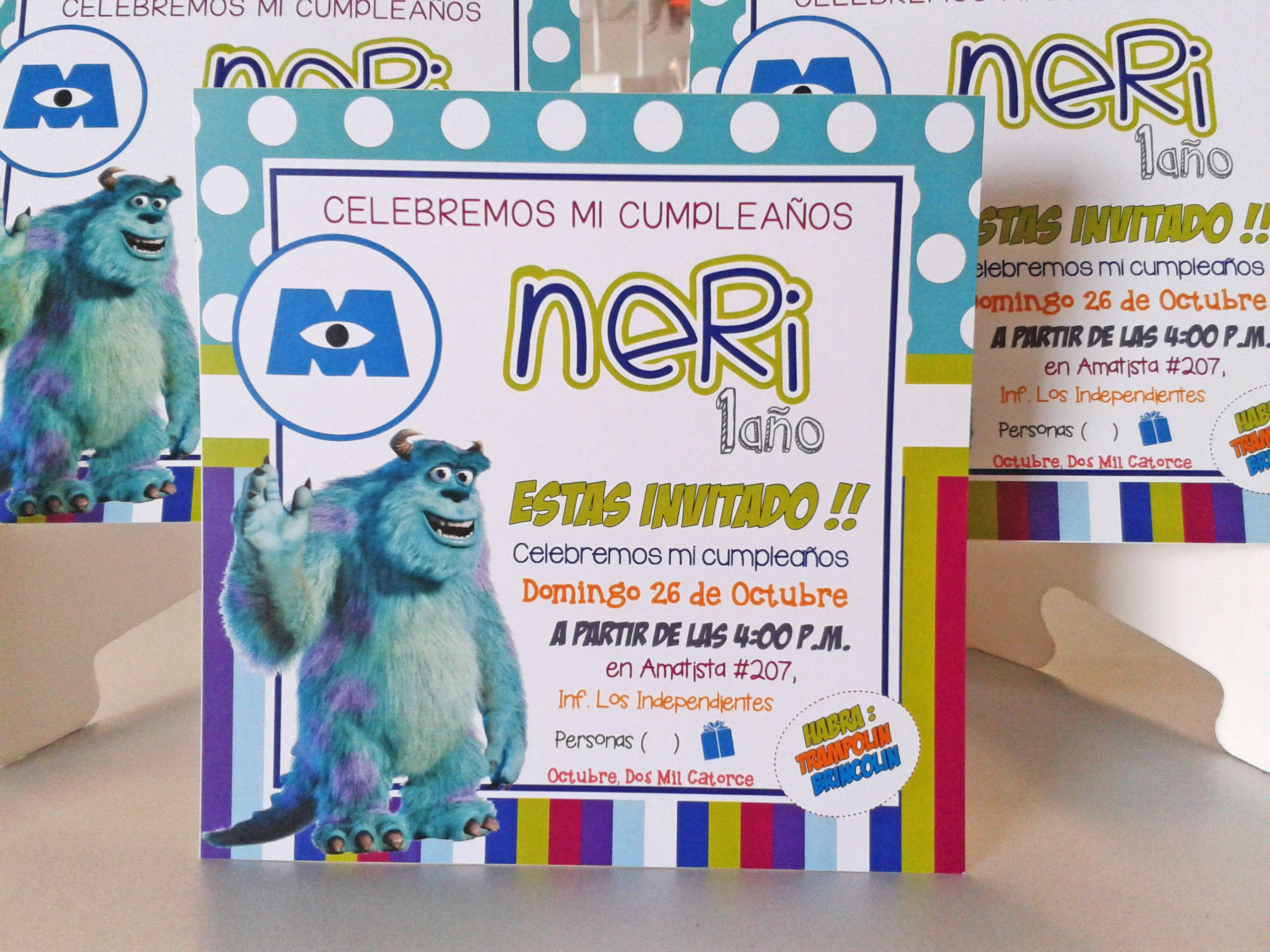 Invitación Sullivan Monster Inc | monster inc | Pinterest