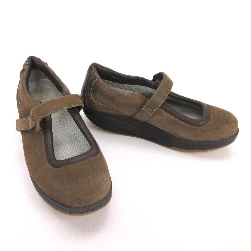 b99472ba5ce7 MBT Womens Mary Jane 11 Kaya Brown Nubuck Suede Toning Rocker Walking Shoe   MBT  MaryJanes