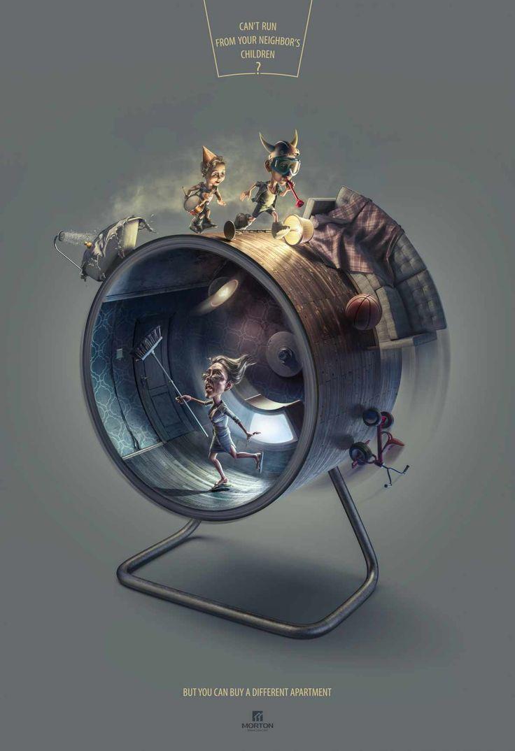 Advertising Campaign Morton Hamster wheel children
