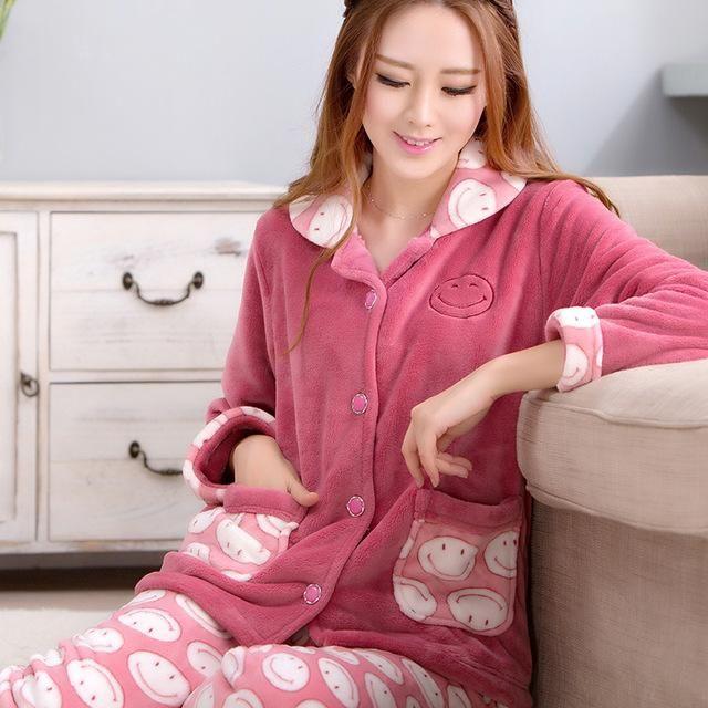 9aa13d4e8ca2 Sleep Autumn Pyjamas Women Winter Coral Velvet Long Sleeve Female Pajama  Sets Thick Warm Sexy Pajamas