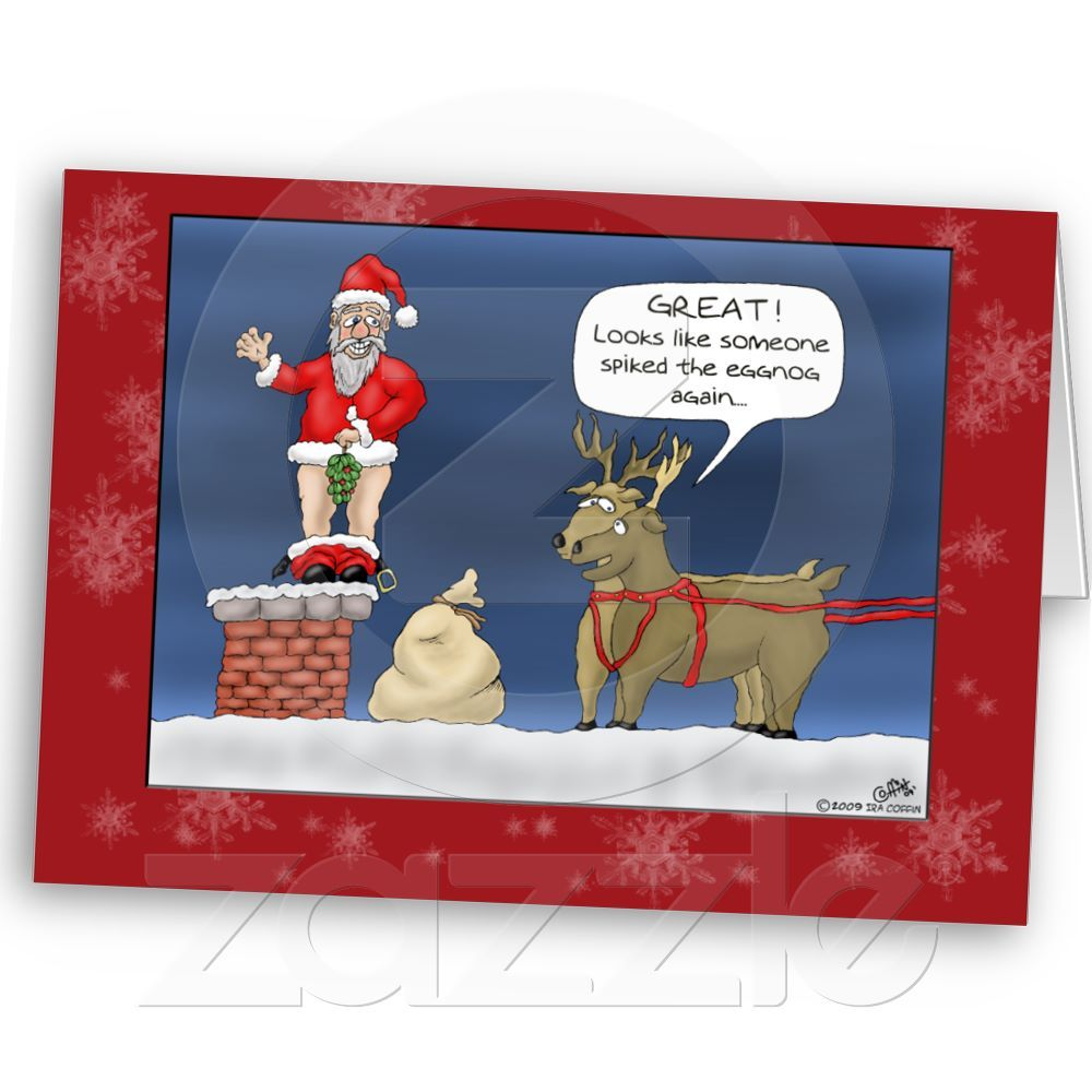 Funny Christmas Cards Spiked The Eggnog Holiday Card Zazzle Com Funny Christmas Cartoons Christmas Humor Christmas Cartoons