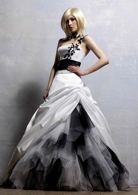 White Black Masquerade Ball Gown Wedding Dress Quinceanera Free Collar New