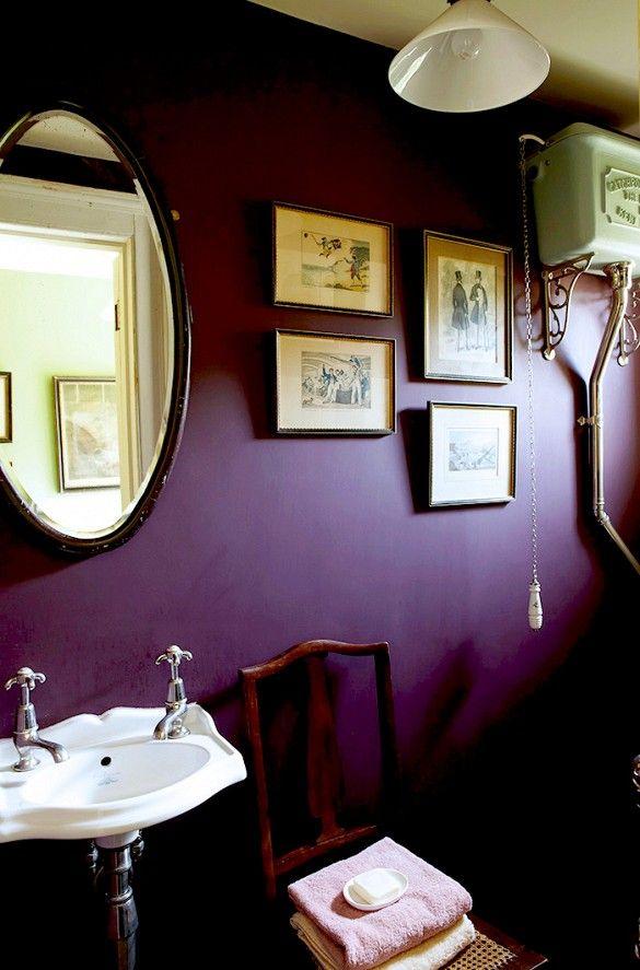 Plum Purple Powder Room With Framed Art