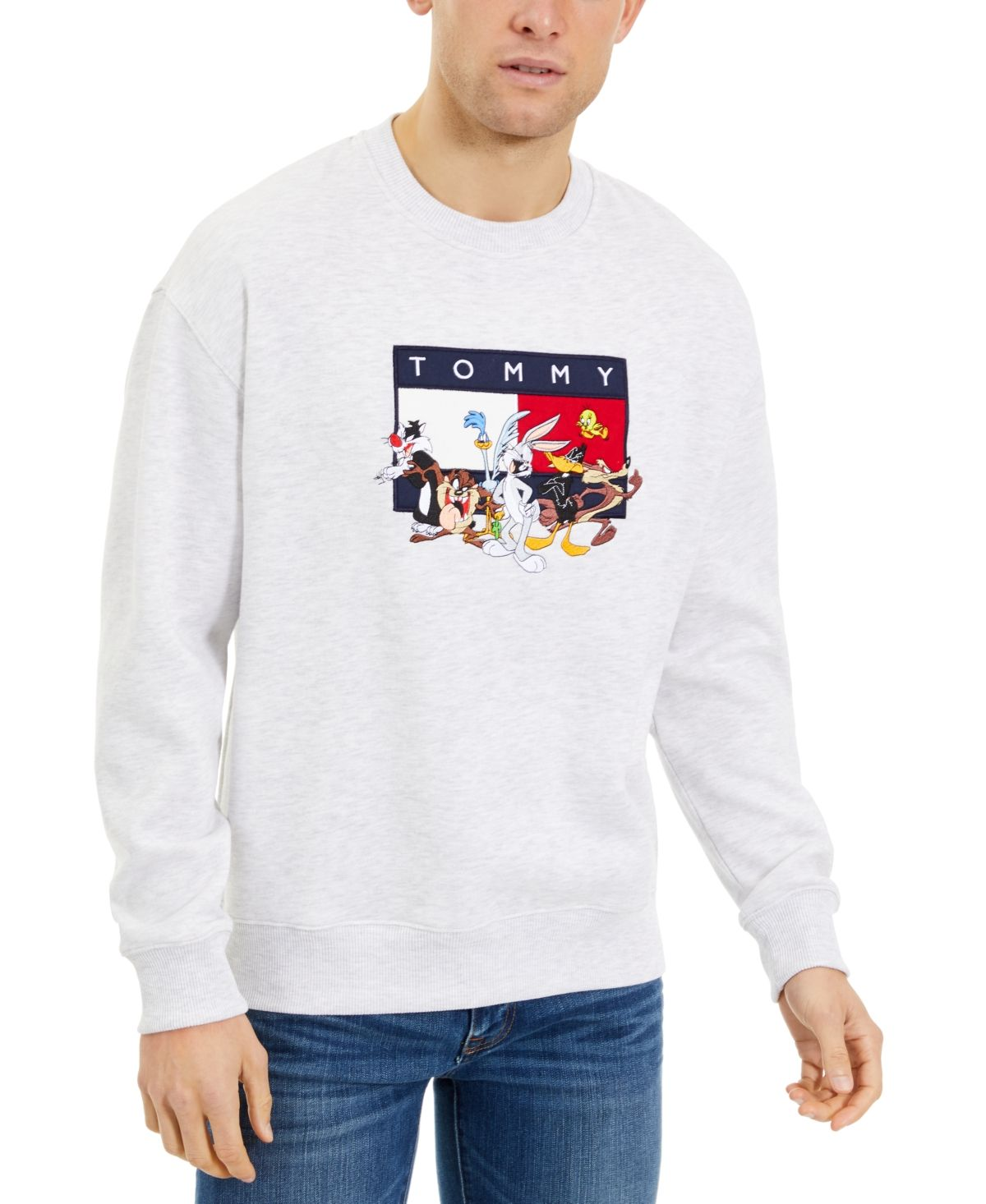 Tommy Hilfiger Men S Looney Tunes Character Sweatshirt Pale Grey Heather Tommy Hilfiger Sweatshirt Tommy Tommy Hilfiger [ 1466 x 1200 Pixel ]