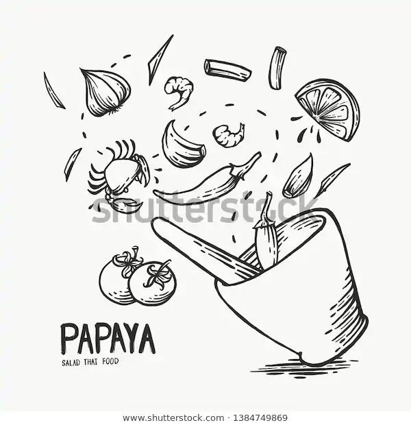 Hand Drawn Papaya Salad Isolate White Stock Illustration 1384749869 Papaya Salad How To Draw Hands Cartoon Painting