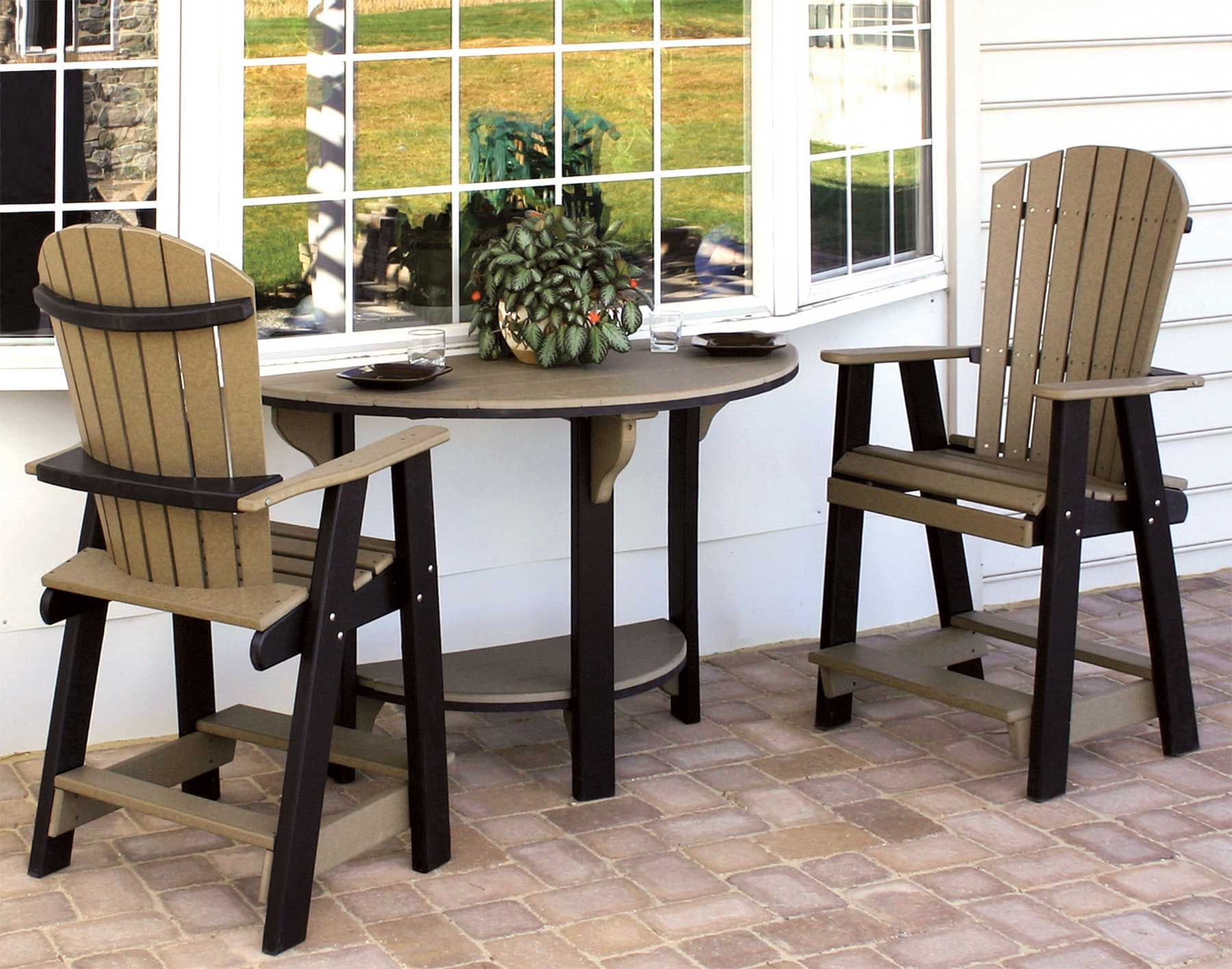 Cute patio seta half round table with 2 balcony chairsDining