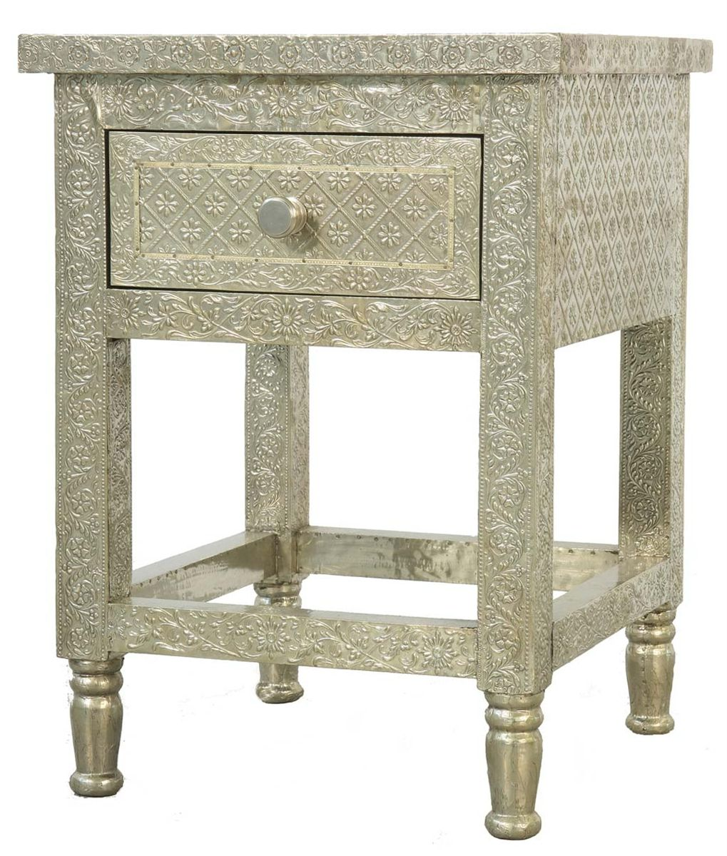 Vintage bedside table ideas - Vintage Silver Wood Bedside Table Furniture Design Ideas Alternative With Single Drawers Space And Amazing Creative