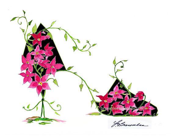 Fleur Rose Fonce Et Vigne Chaussure 2016 Impression Signes Et