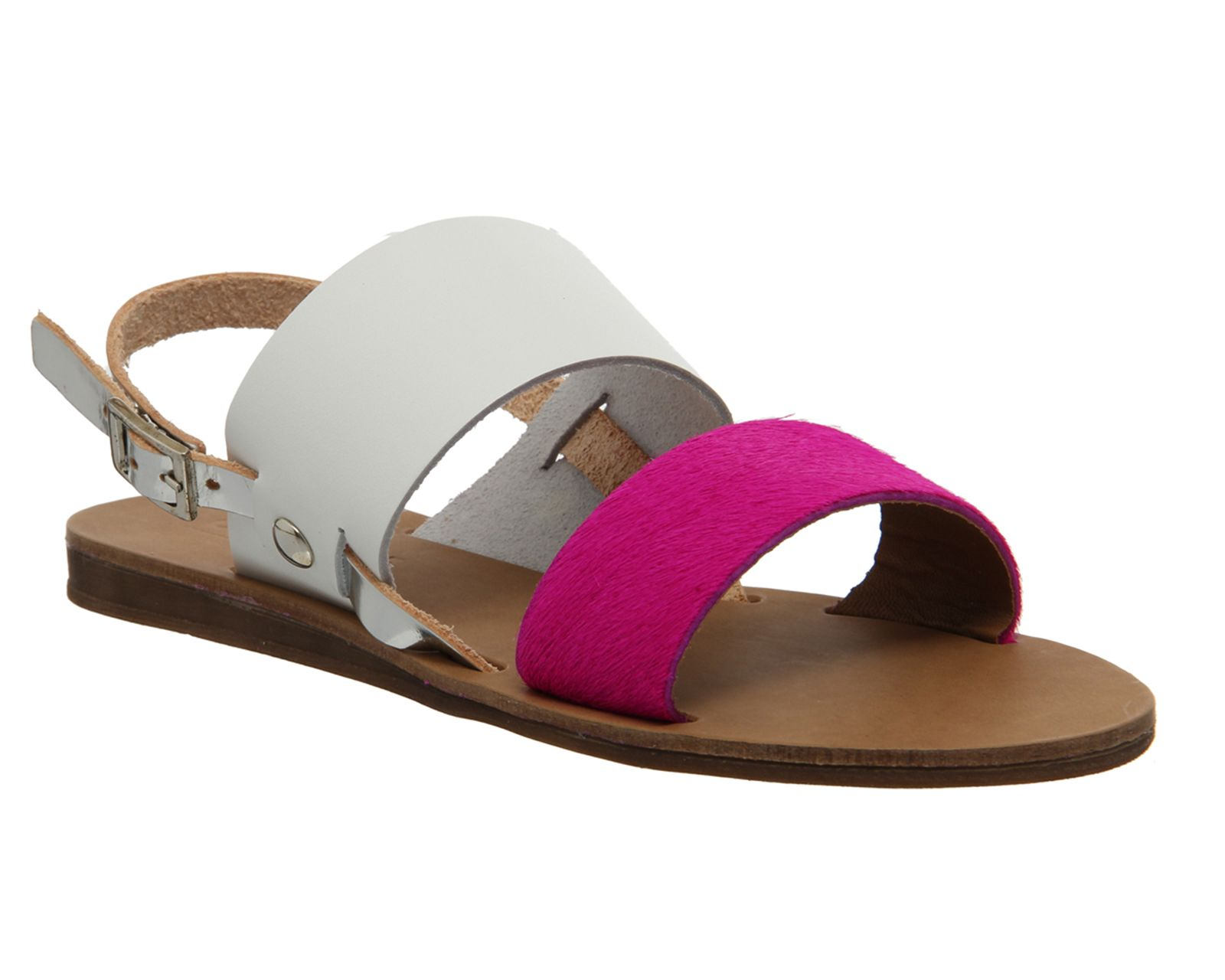Office Ora Double Strap Sling Back Sandal Pink Cow Hair Sandals