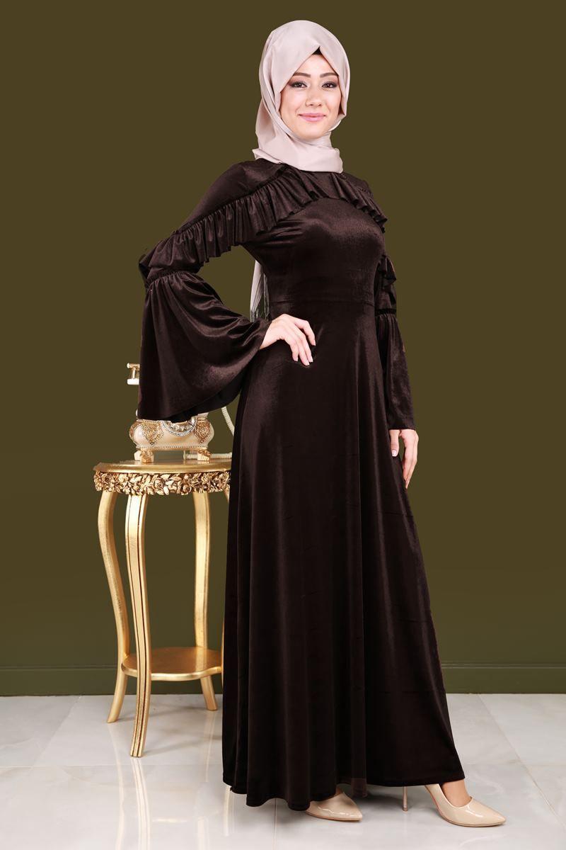 Volan Kol Tesettur Kadife Elbise Kahve Urun Kodu Bh0169 119 90 Tl Evening Dresses Plus Size Velvet Fashion Muslimah Dress
