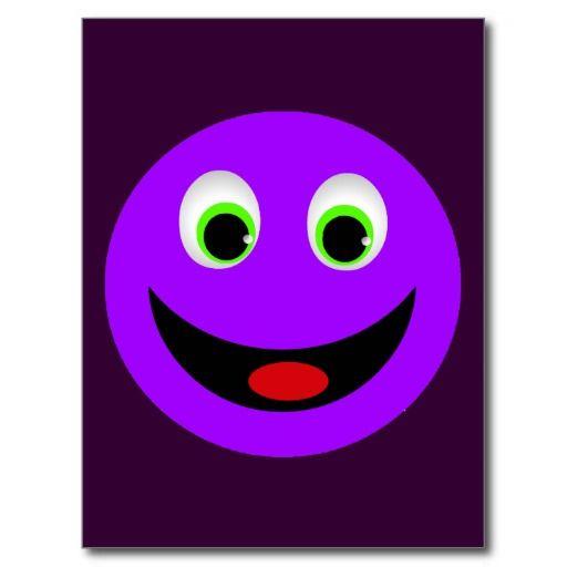 PURPLE HAPPY FACE POSTCARD
