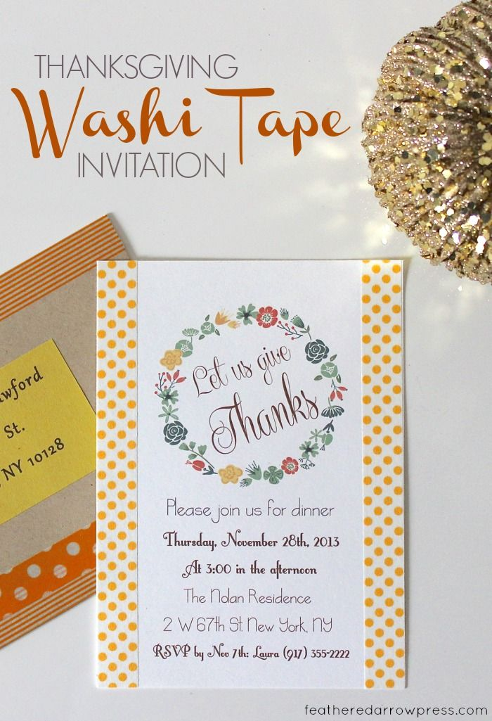 Thanksgiving Washi Tape Invitations