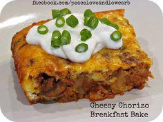 Cheesy Chorizo Breakfast Bake via @PeaceLoveLoCarb