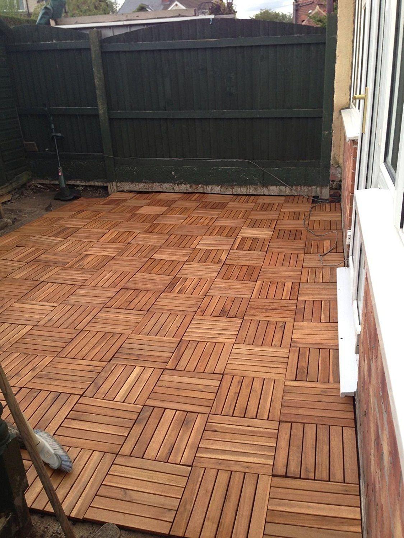6 x Extra starkes Holz ineinander Terrassenfliesen Akazie