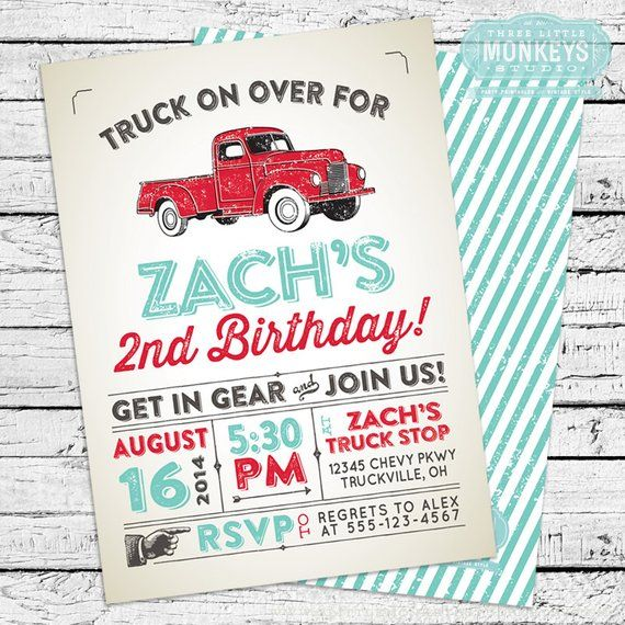 Vintage Truck Invitation Thank You Note