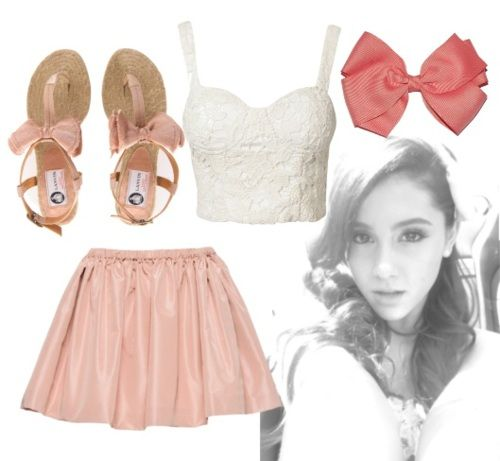 Ariana Grande Skirt | Ariana Grande inspired look ♡Sandals - Skirt - Bustier - Hairbow ...