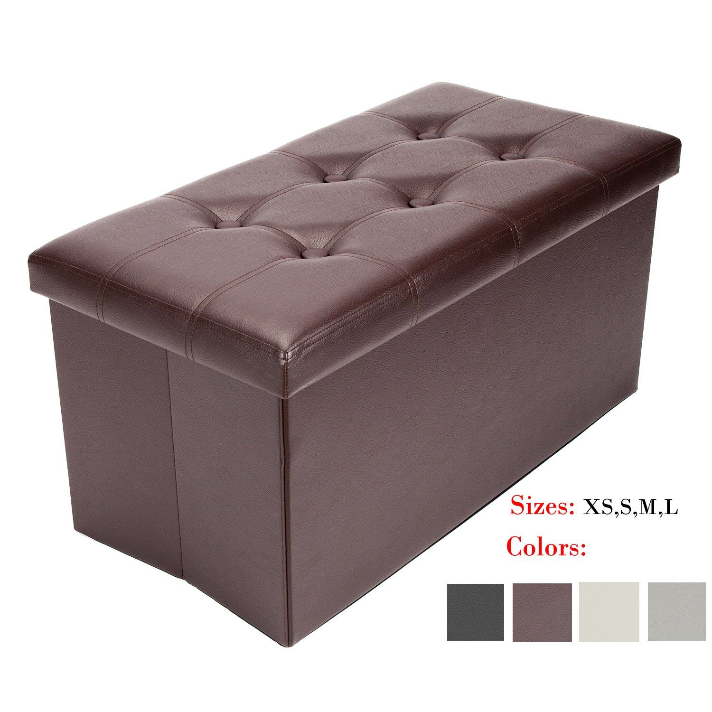 Bonnlo Leather Folding Organizer Seat Storage Ottoman Bench Footrest Stool Coffee Table Cube Port Storage Ottoman Bench Storage Ottoman Leather Storage Ottoman