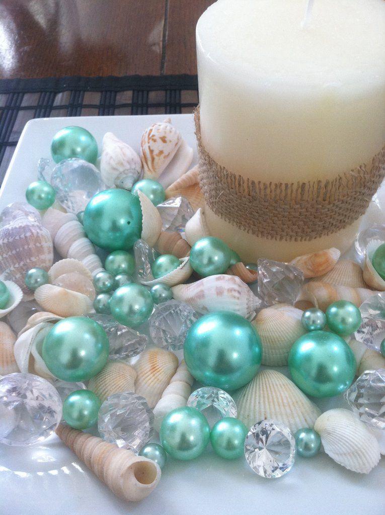 Mix Seashells Seafoam Green Pearls Diamond Vase Fillers Bowl