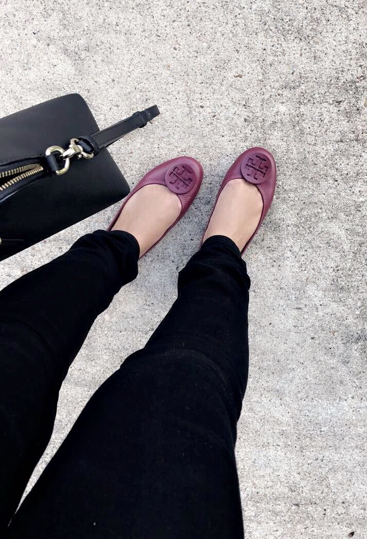 81ba0b2d349c Minnie Travel flats in the new Imperial Garnet. Fall colors are my favorite!   ToryBurch  Minnie  Fashion  Fall2017