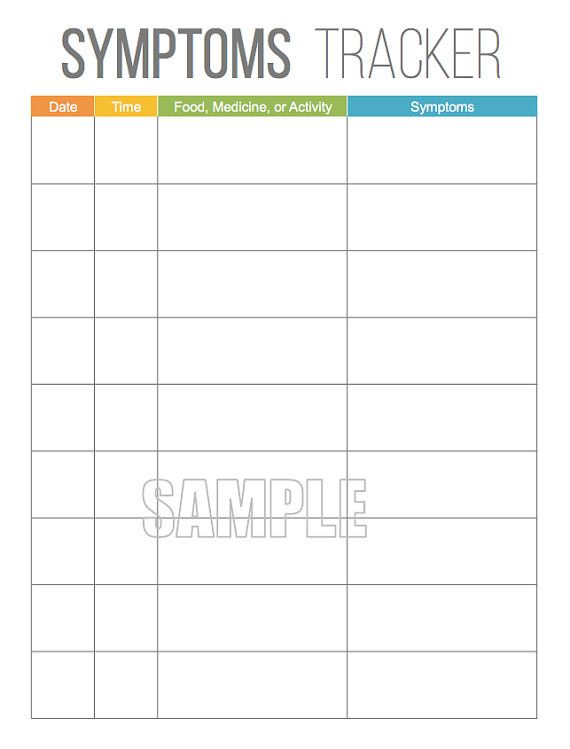 Symptoms Tracker - Printable for Health and Medical ...