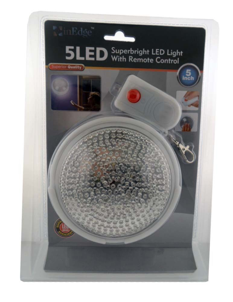 InEdge Wireless Superbright 5 LED Light   Battery Operated Ceiling / Wall  Light With Remote Control