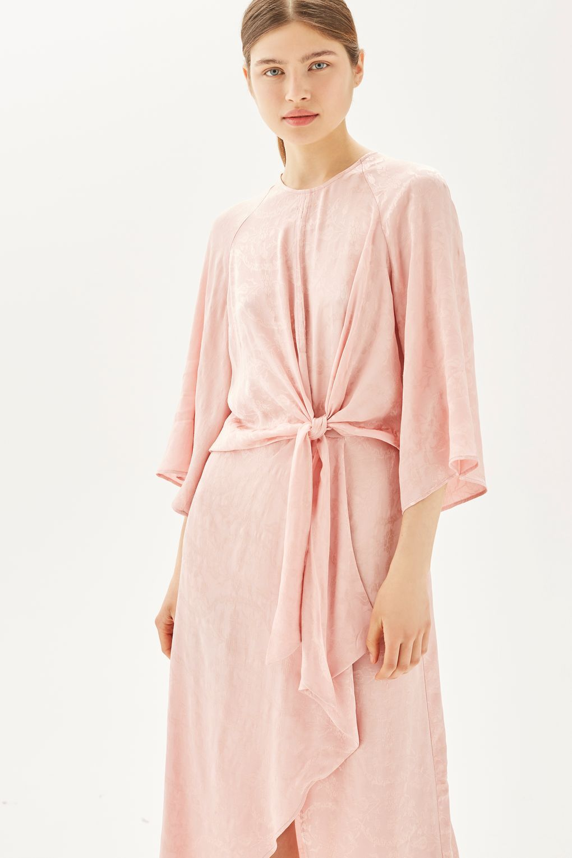 2ef25a361829 Jacquard Knot Front Midi Dress - Dresses - Clothing - Topshop USA ...