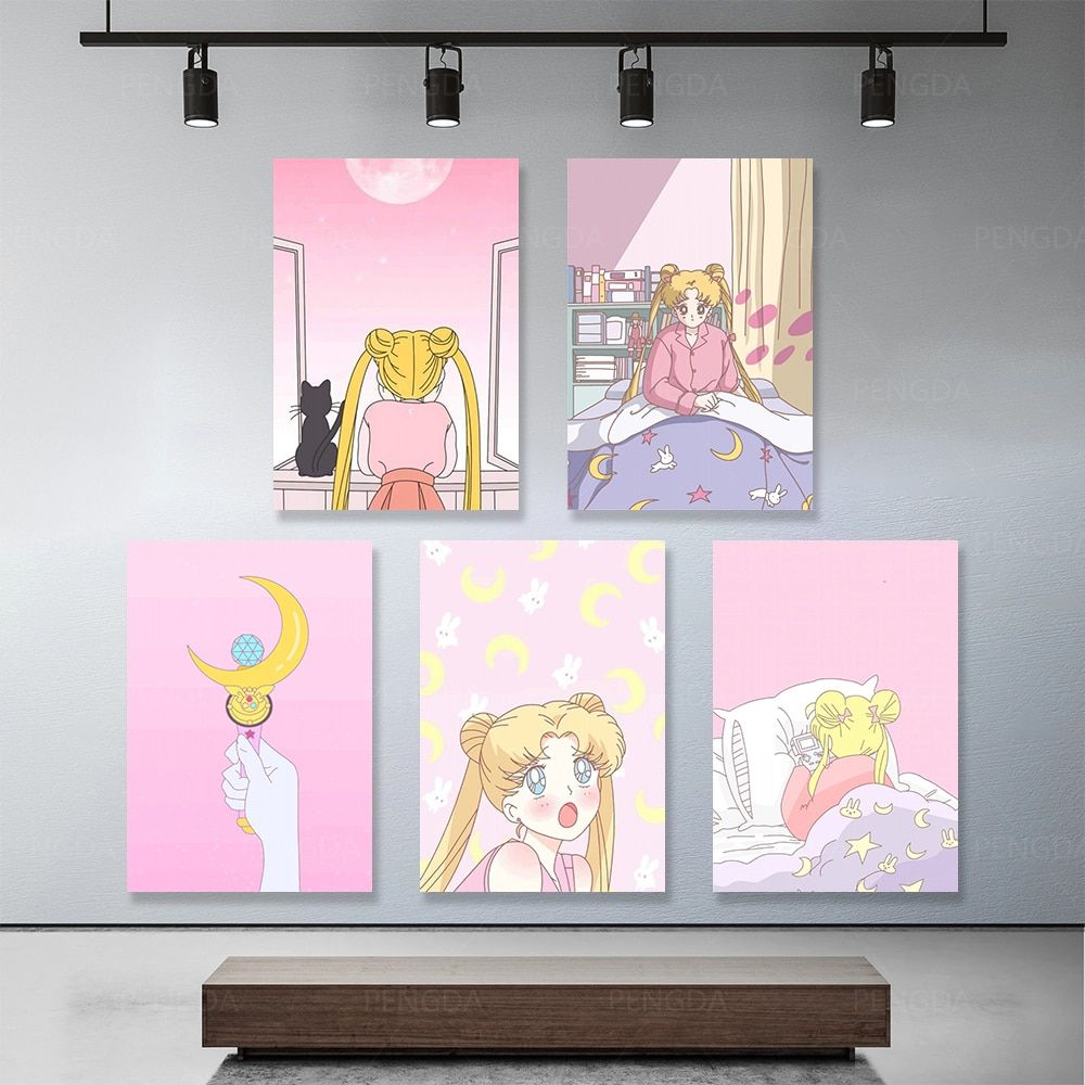 لوحة قماشية ذات رسوم متحركة لدور ديكور المنزل صورة بحار على شكل قمر مطبوعة ذات طابع وردي بوسترات فنية لغرفة المع Room Wall Art Wall Sculpture Art Modern Prints