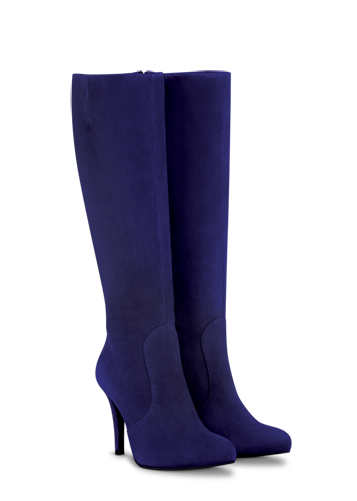 Blue suede boots, Wide calf boots